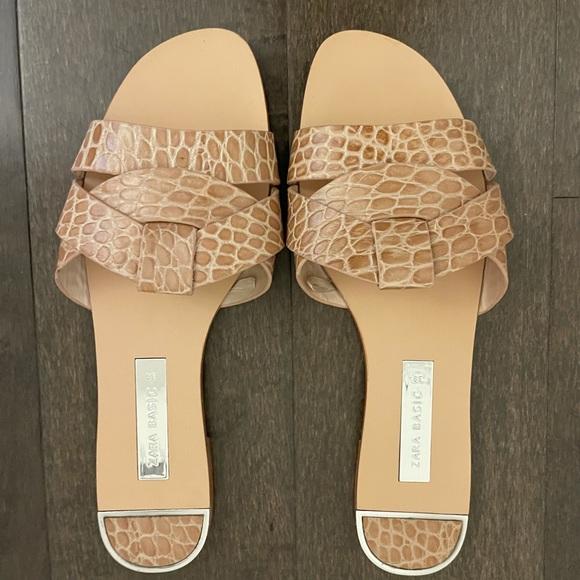Zara tan flat slides in size 39